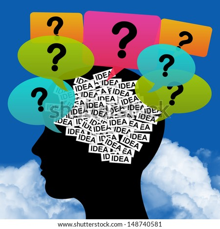 Business Idea Solution Concept Present by Green Head With Idea Label in Brain and Colorful Question Balloon Around in Blue Sky Background - stock photo