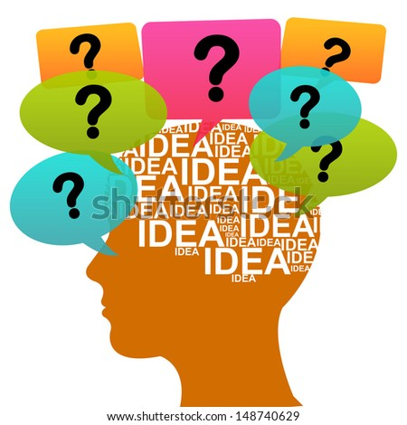 Business Idea Solution Concept Present by Orange Head With Idea in Brain and Colorful Question Balloon Around Isolated on White Background  - stock photo