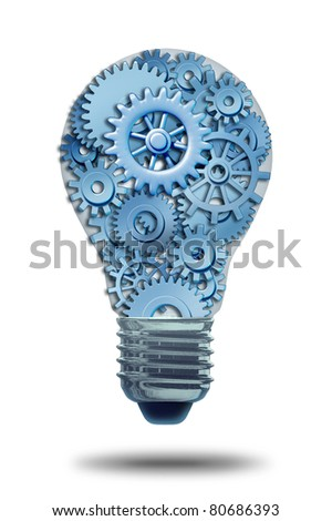 Business ideas and concepts featuring a light bulb with gears and cogs working together as a team representing teamwork and financial planning and strategy isolated on white with a shadow. - stock photo