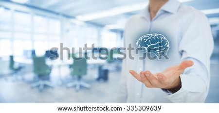Business ideas and creativity, headhunter concepts, business intelligence, mental health and psychology, business decision making, copyright and intellectual property rights, office in background. - stock photo
