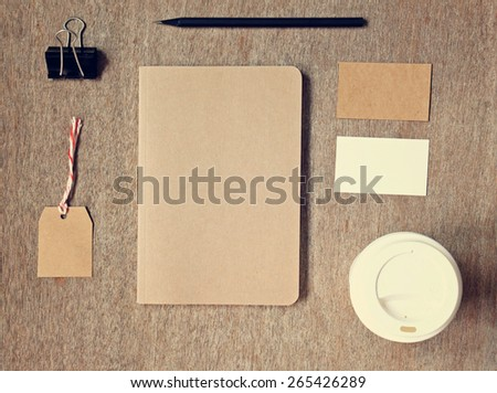 Business identity branding mockup set top view with retro filter effect - stock photo