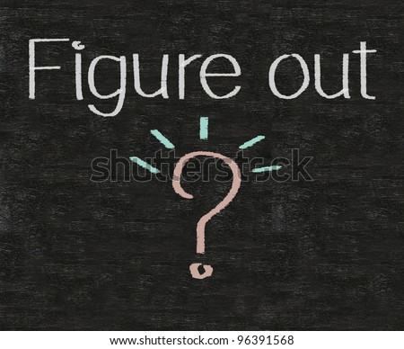business idioms written on blackboard with question mark, figure out