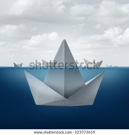 Business ignorance and fear concept as a group of paper boats floating around the tip of a giant origami sail boat as an ice berg shape as a metaphor for hidden competition and corporate deception. - stock photo
