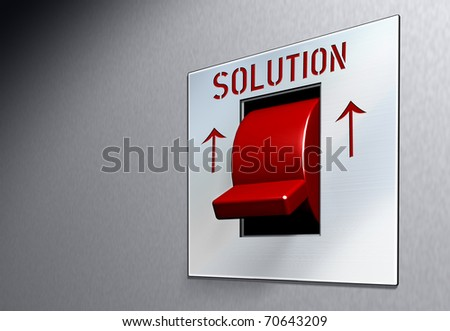 "Business illustration red switch with caption ""Solution"" conceptual pic"