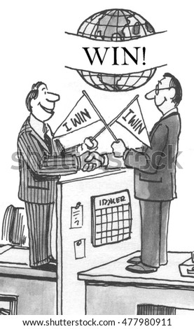 Business illustration showing two businessmen both waving 'I win' flags.