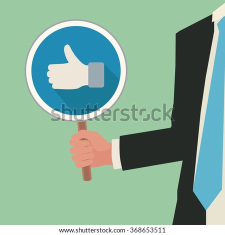 business illustration vector concept with right hand holding popular sign - stock photo