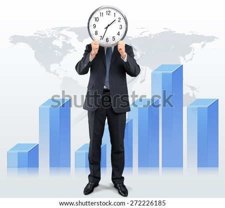 Business. Image of businessman holding alarmclock against illustration background. Collage - stock photo
