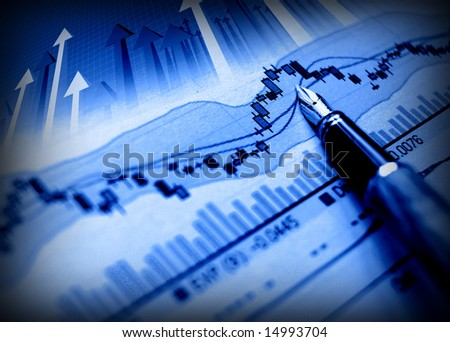 business image of pen indicate grow on financial diagram - stock photo