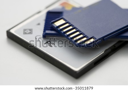 BUSINESS IMAGE-SD memory cards isolated on white - stock photo
