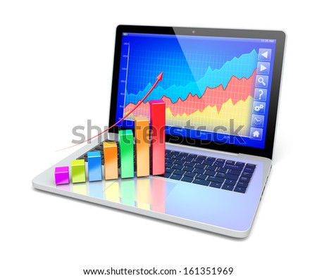 Business improvement and finance success analyzing concept. Laptop with growth diagram on a screen. 3d image 		 - stock photo