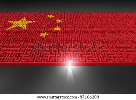 Business in China challenge representing the difficulties in navigating through the Chinese government and corporate structures showing a maze and labyrinth with the asian red and yellow star flag. - stock photo