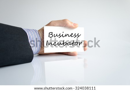 Business incubator text concept isolated over white background