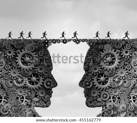 Business industry bridge as a group of people running across a link made of gears and cogwheels shaped as a head as a success metaphor for technology solutions with 3D illustration elements. - stock photo
