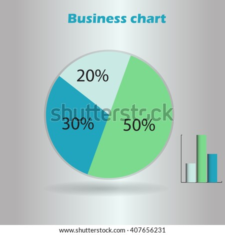 business infographic form blank live pie and column graph circle percentage blue green chart 20 30 50 % set illustration round raster