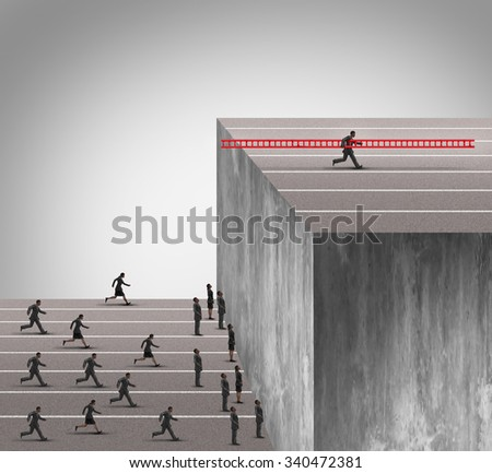 Business innovation advantage concept as a group of businesspeople running into a high wall obstacle with one clever competitive businessman using a ladder to climb and carrying the tool with him. - stock photo