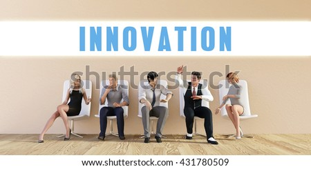 Business Innovation Being Discussed in a Group Meeting 3d Illustration Render - stock photo