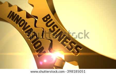 Business Innovation - Concept. Business Innovation on Mechanism of Golden Metallic Cog Gears with Lens Flare. Golden Cogwheels with Business Innovation Concept. Business Innovation Golden Gears. 3D. - stock photo