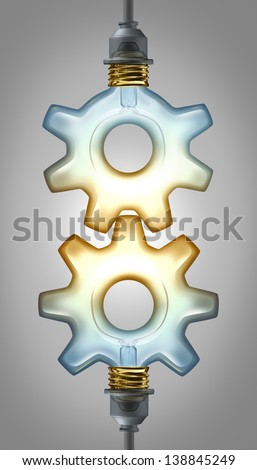 Business innovation partnership concept for new ideas as two  illuminated glass light bulbs shaped as a gear or cog connected together as a collaboration team working for innovative creative success. - stock photo