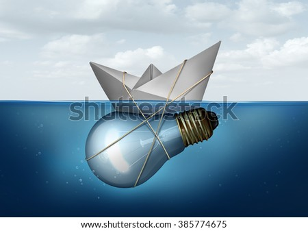 Business innovative solution and creative concept as a paper boat tied to a light bulb or lightbulb object as a success metaphor for smart thinking solving economic and transportation challenges. - stock photo