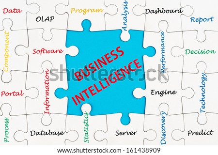 Business intelligence concept words cloud on group of jigsaw puzzle - stock photo