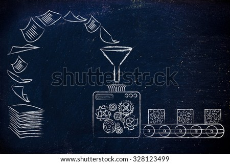 business intelligence: illustration with factory machines turning unorganized paper into processed data - stock photo