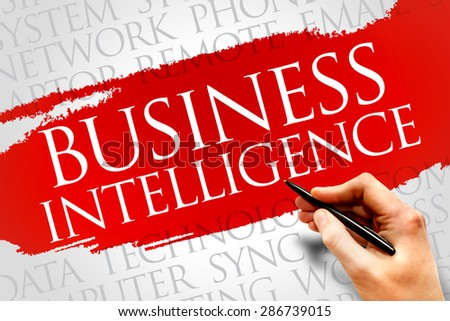 Business intelligence word cloud concept - stock photo