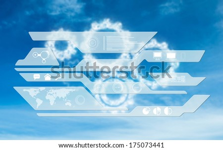 Business interface against white cogs in the sky
