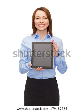 business, internet, advertisement and technology concept - smiling woman with black blank tablet pc computer screen - stock photo