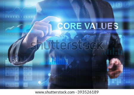 Business, Internet and technology concept.  Businessman select COre values. - stock photo