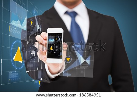 business, internet and technology concept - businessman showing smartphone with virtual screen - stock photo