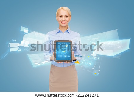 business, internet and technology concept - businesswoman holding tablet pc with hologram - stock photo