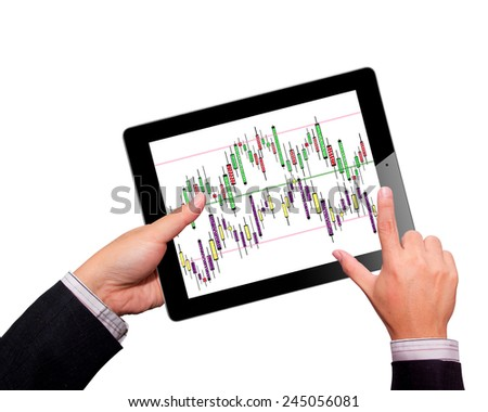 business, internet and technology concept - close up of man hands holding and pointing finger on tablet pc computer screen - stock photo