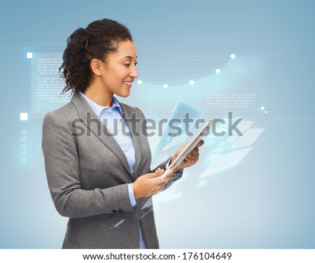 business, internet and technology concept - smiling african-american woman looking at tablet pc computer - stock photo