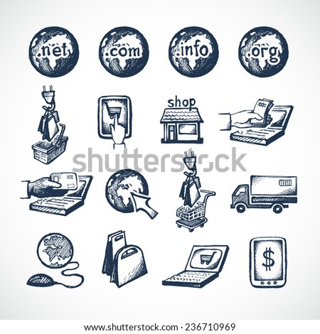 Business internet online shopping icons set of store domains product purchase paying and global delivery sketch  illustration - stock photo