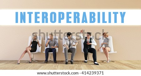 Business Interoperability Being Discussed in a Group Meeting 3D Illustration Render - stock photo