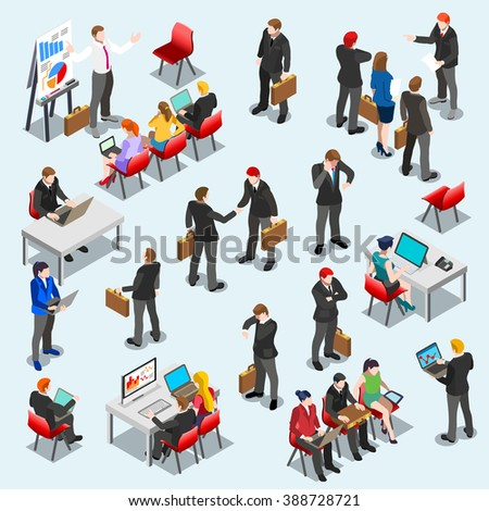 Business Isometric Person Meeting Infographic Sitting and Standing Isolated Businessman. 3D Flat Art Isometric People Set Business Leader Collection. Desk Man Big Data Analysis. Image Businessman - stock photo