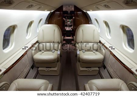 Business Jet Interior - stock photo