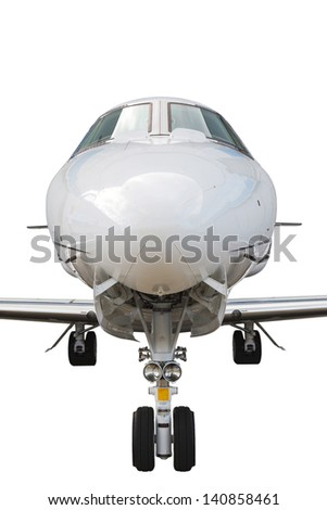 business jet with the two jet engines, isolated on white background - stock photo