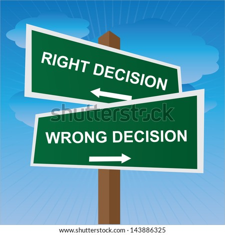 Business, Job Career or Financial Concept Present By Green Two Way Street or Road Sign Pointing to Right Decision and Wrong Decision in Blue Sky Background - stock photo