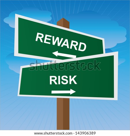 Business, Job Career or Financial Concept Present By Green Two Way Street or Road Sign Pointing to Reward and Risk in Blue Sky Background - stock photo