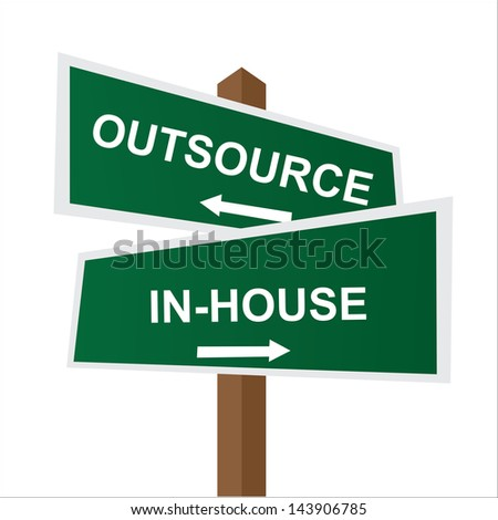 Business, Job Career or Financial Concept Present By Green Two Way Street or Road Sign Pointing to Outsource and In-House Isolated on White Background - stock photo