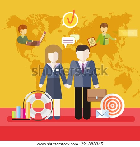 Business job icons in flat design around famile. Business job family. Balance between work and family life. Husband and wife holding each others hands on background world business map. Raster version - stock photo
