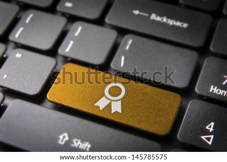 Business key with ribbon icon on laptop keyboard. Included clipping path, so you can easily edit it. - stock photo
