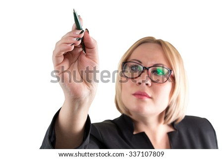 Business lady on white pointing at something. Isolated photo with white background.