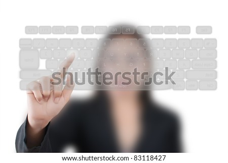 Business lady pressing transparent keyboard.