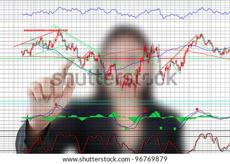 Business lady pushing finance graph for trade stock market on the whiteboard.