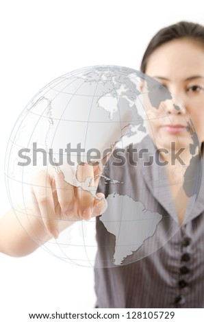 Business Lady pushing World Map Globe for Business and Technology Concept. - stock photo