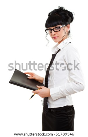 business lady with black folder over white - stock photo