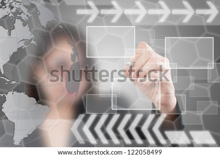 Business lady write digital button on touch screen interface. - stock photo