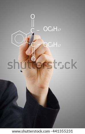business lady writing science diagram. - stock photo
